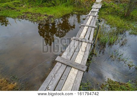 Wooden footbridge with reflection at the Mt Kinabalu Holiday Camp at Ranau,Sabah,Borneo,as a concept for challenge in nature of Borneo jungle in Kudasang,Sabah,Borneo.