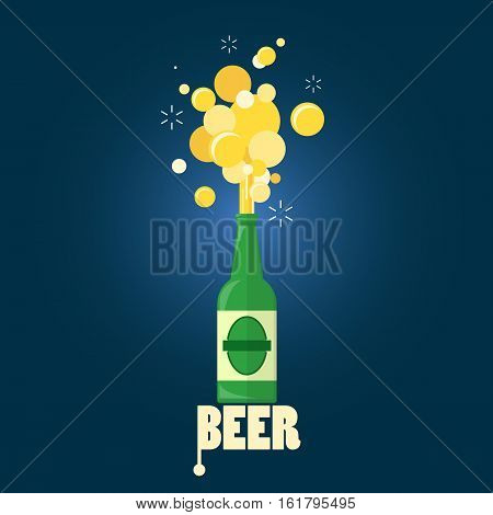 beer gushing from bottle with text on blue background. flat design.