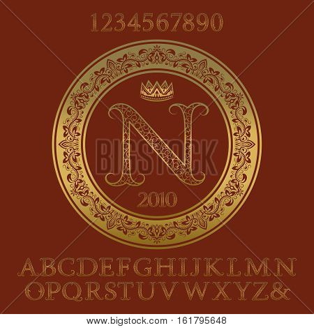 Golden ornate letters and numbers with initial monogram. Decorative patterned font and elements kit for logo design.