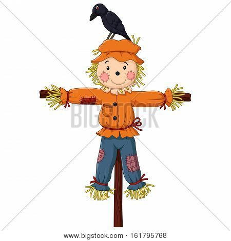 Vector illustration of Scarecrow cartoon on white background