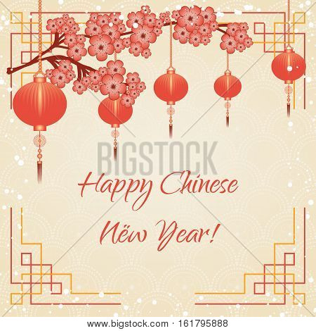 Greeting postcard to Chinese New Year. Branch of sakura with scarlet flowers and red sky lanterns on pale beige background with chinese ornament and snowfall. Vector illustration