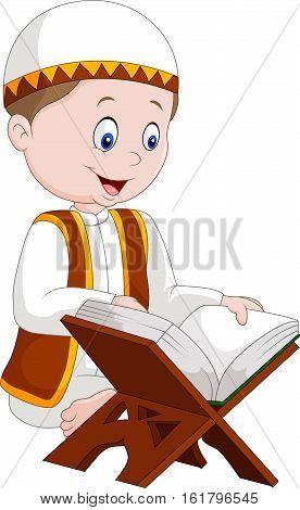 Vector illustration of Cartoon boy reading Quran