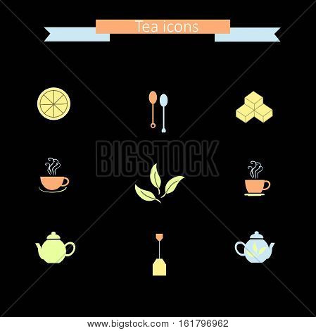 Set of modern flat colorful icons on black: tea spoons, lemon slice, sugar cubes, steam cups, teapots, tea bag, tea leafs, stock vector illustration