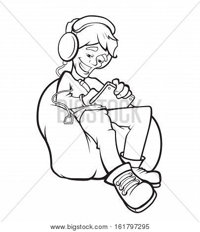 vector picture of digital painter at work. Man sitting on the sofa and make some digital illustration on Graphic tablet. Smile on face