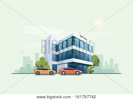 Office Building With Parking Cars And City Background