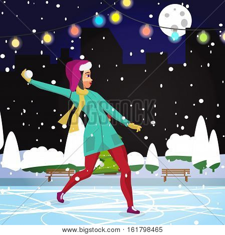 Young woman playing in the snowballs at night on the street in winter. Flat cartoon vector illustration