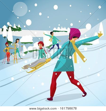 Young woman play snowballs on the hill, skiing and sledging. Flat cartoon vector illustration