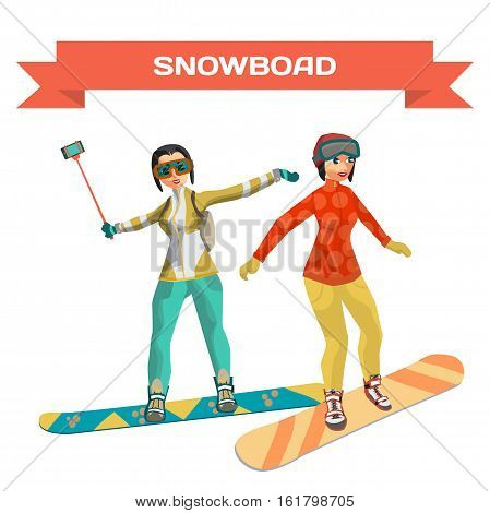 Set girl snowboarding. Cartoon snowboard women training. Winter sports. Flat vector illustration isolated on white background