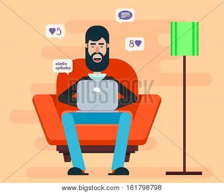 Bearded man sitting in a chair with a laptop on his lap and browsing Internet. Home cozy atmosphere. Comfortable domestic illustration.