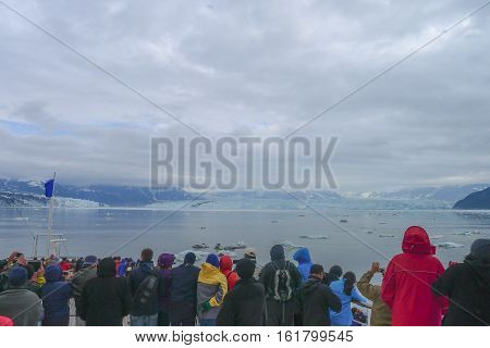 The approach to the Hubbard Glacier in Alaska