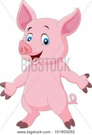 Vector illustration of Cute pig cartoon posing