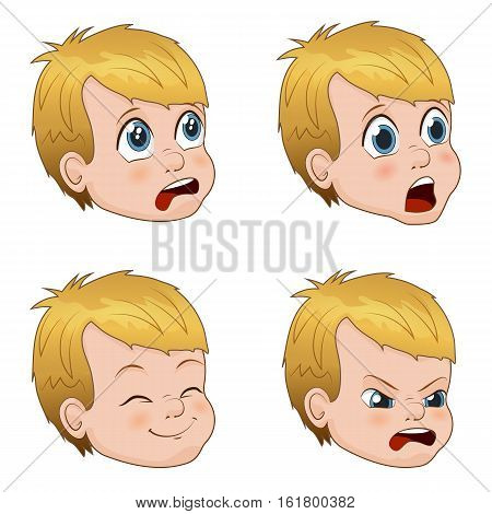 Set of cute little boy faces showing different emotions. Vector Illustration
