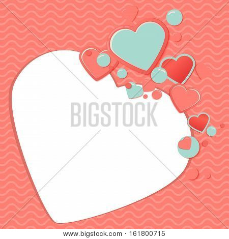 Pink and blue paper hearts for scrapbooking design, scrap book template.Valentines Day Scrap Card or scrap postcard. Romantic Lovely Frame design template for Mothers Day or scrapbooking.