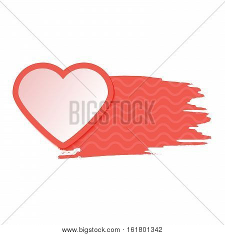 Red single isolated heart with watercolor style strokes and drops. Valentines Day Greeting Banner isolated on white background. Romantic Lovely Frame card design template for Mothers Day.