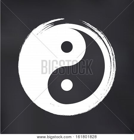 Vector Yin Yang in a Zen Circle Illustration on Blackboard