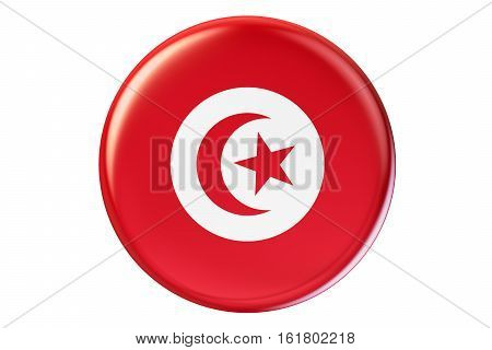 Badge with flag of Tunis 3D rendering isolated on white background