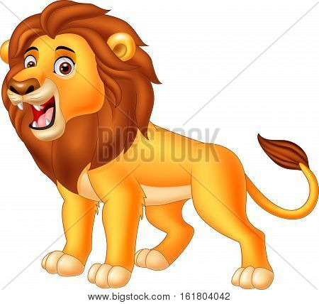 Vector illustration of Cartoon lion roaring on white background