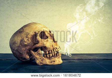 Still Life Skull Of A Skeleton With Burning Cigarette, Stop Smoking Campaign Concept With Copy Space