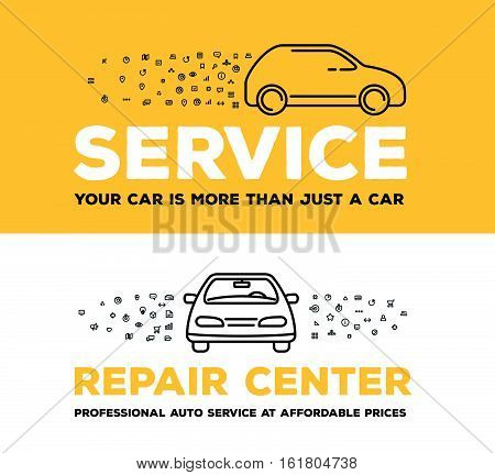 Vector Creative Illustration Of Car With Set Of Line Icons And Word Typography On White And Yellow B