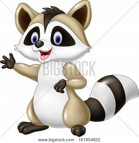 Vector illustration of Cartoon happy raccoon waving hand