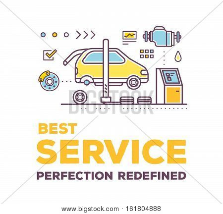 Vector Creative Illustration Of Car Service Workshop On White Background With Header And Line Auto A