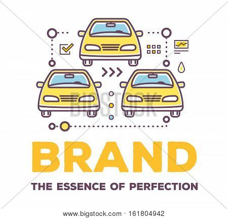 Vector Creative Illustration Of Cars With Line Icons And Header On White Background.