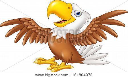 Vector illustration of Cartoon funny eagle flying