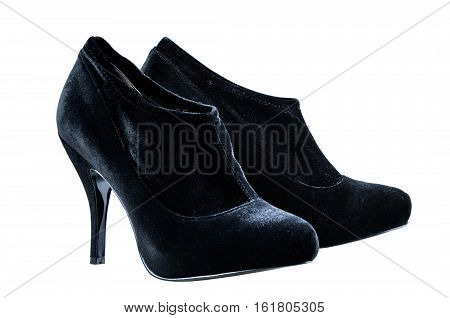 Women's autumn ankle boots black average heels isolated white background