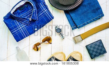 top view set of clothes for men