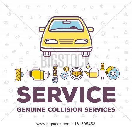 Vector Creative Illustration Of Frontal View Car On White Pattern Background With Word Header And Li
