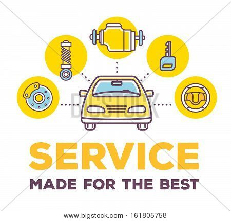 Vector Creative Illustration Of Frontal View Car On White Background With Word Header And Line Auto