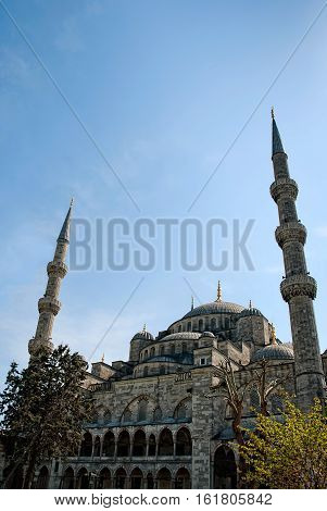 The Blue Mosque (Turkish: Sultanahmet Camii) Istanbul Turkey. The biggest mosque in Istanbul