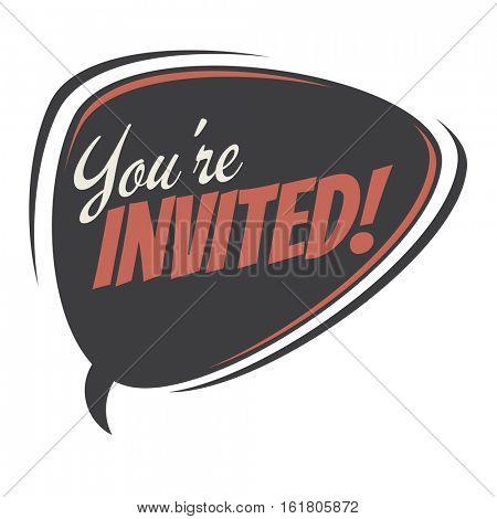 you're invited retro speech balloon
