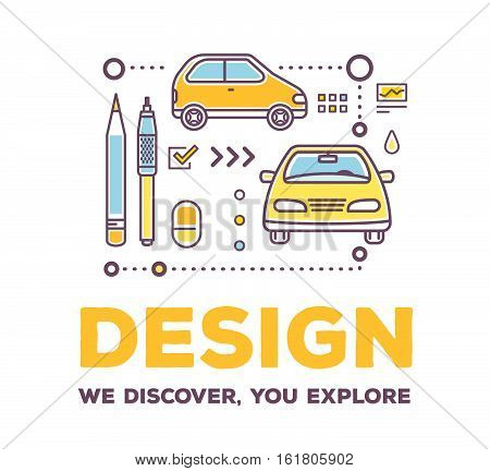 Vector Creative Illustration Of Linear Car With Drawing Tools, Icons And Header On White Background.