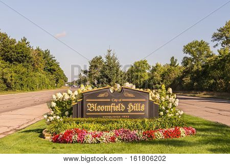 BLOOMFIELD HILLS MI/USA - AUGUST 19 2016: The annual Woodward Dream Cruise route runs through the city of Bloomfield Hills. Woodward is a National Scenic Byway