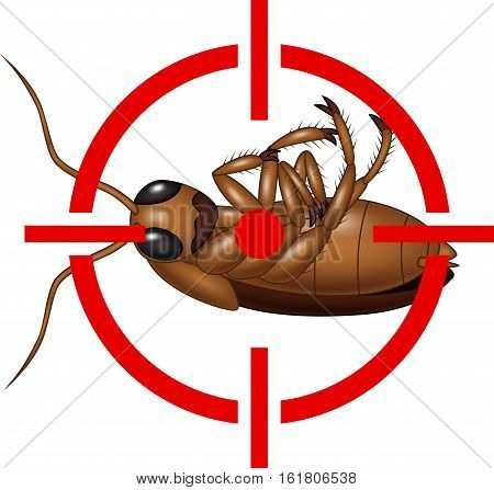 Vector illustration of Cockroach on Target Icon