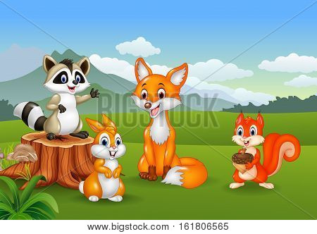 Vector illustration of Nature scene with different animals