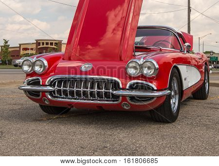 ROYAL OAK MI/USA - AUGUST 17 2016: A 1959 Chevrolet Corvette car at the Woodward Dream Cruise. Woodward is a National Scenic Byway.