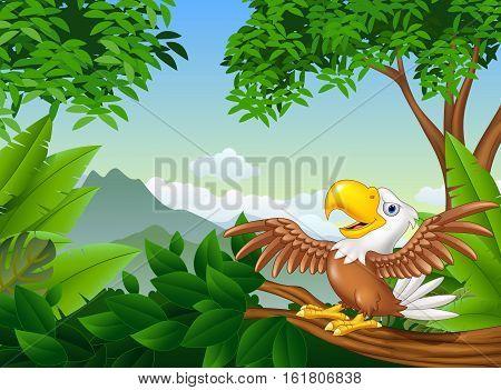 Vector illustration of Cartoon bald eagle on a tree branch