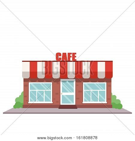Cafe shop front. Street local cafeteria building. European bar facade. Cafe front cartoon vector illustration. Cafe exterior