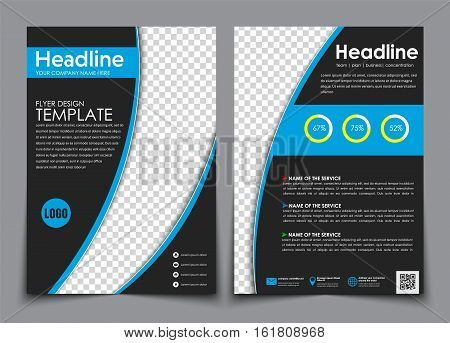 Design Flyers Black With Blue Elements For Printing.