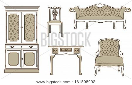 Vector illustration set collection of vintage furniture icons. Antique retro furniture. 18th century style interior.