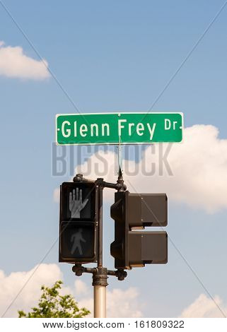 ROYAL OAK MI/USA - AUGUST 18 2016: Glenn Frey Drive near Dondero High School (now Royal Oak Middle School). Frey was the founding member of the rock group Eagles.