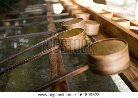 Japanese ladle in Japanese Temple