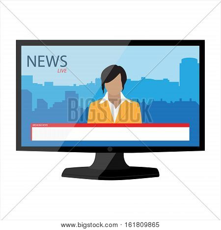 News app on TV monitor screen. Electronic mass media. Anchorman on tv broadcast news. Media on television concept. Breaking news. Man newsreader or journalist concept background