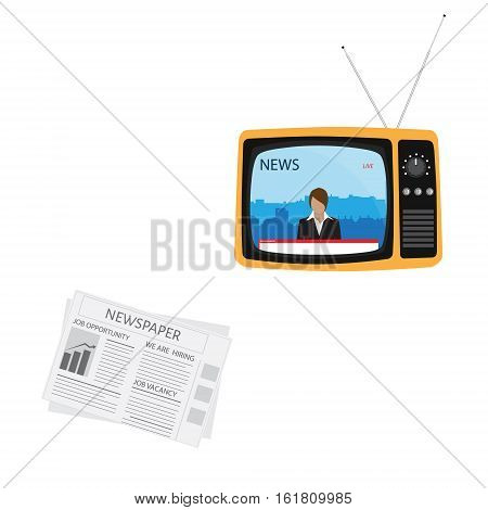 Media on television concept. Breaking news. TV News with woman newsreader or journalist concept background. Retro TV and newspaper