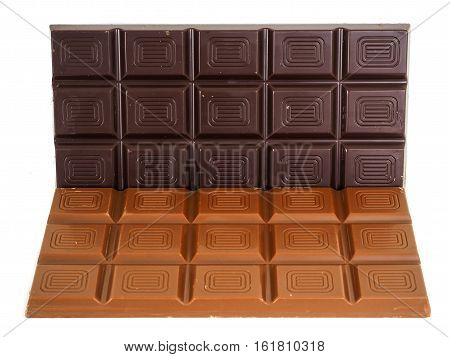 Person Holding A Whole Bar Of Dark Chocolate Isolated Towards White Background