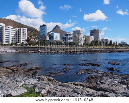 view from sea point promenade in Cape Town, South Africa. Lion's Head mountain on the background.