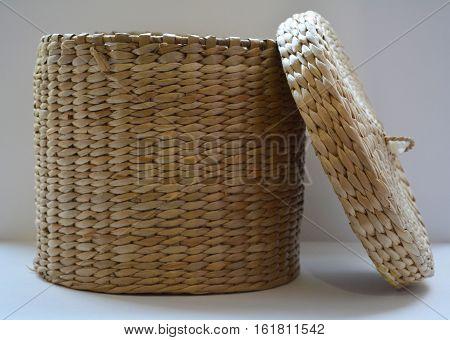 wicker basket on white background, wicker basket