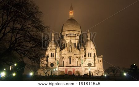 Paris, France, January 12, 2014. Basilica Sacre Coeur is the most important basilica of Paris